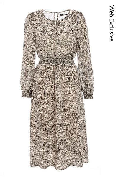 Stone Chiffon Animal Print Midi Dress